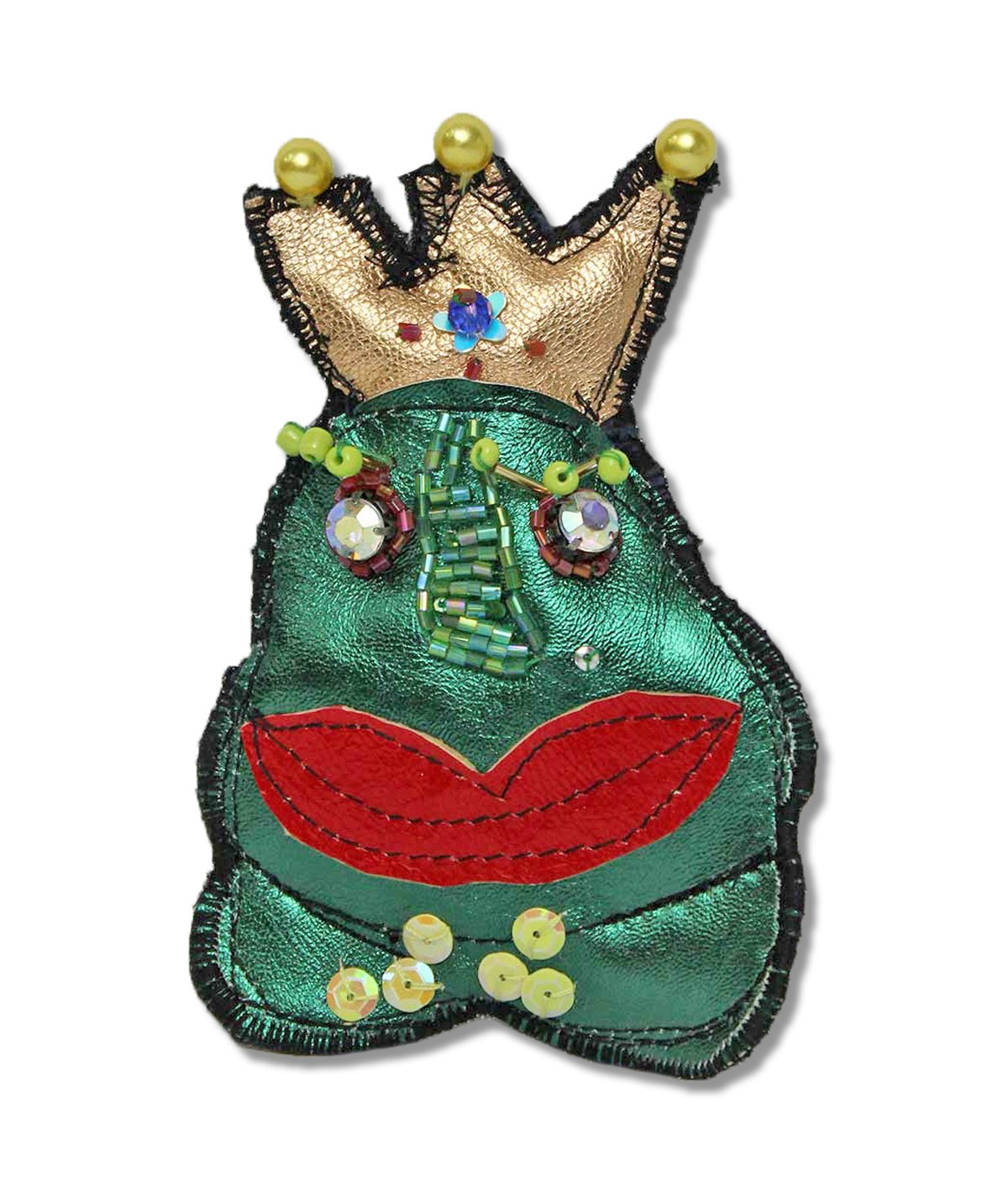 Croak - leather brooch