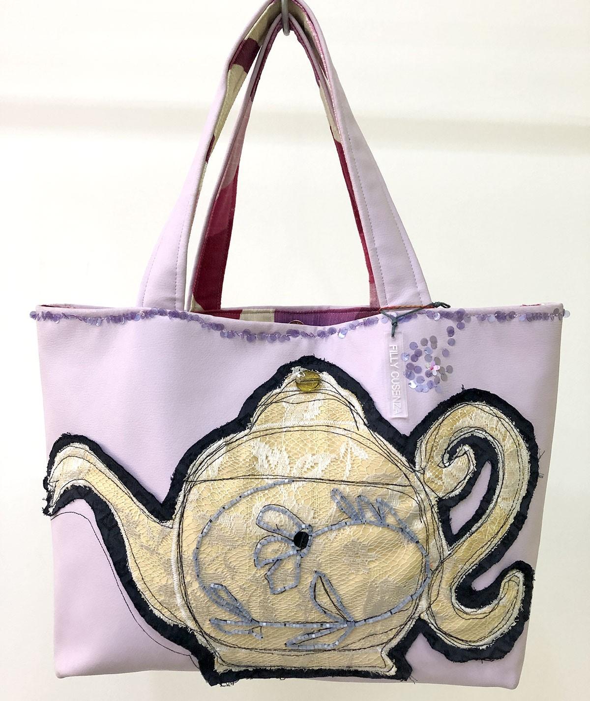 Lilac Teapot  - faux...