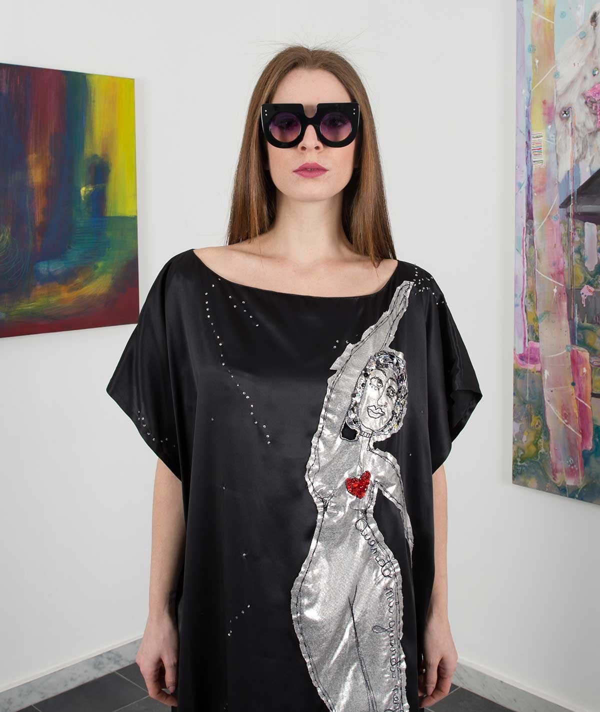 """Under the stars"" silk Kaftan"